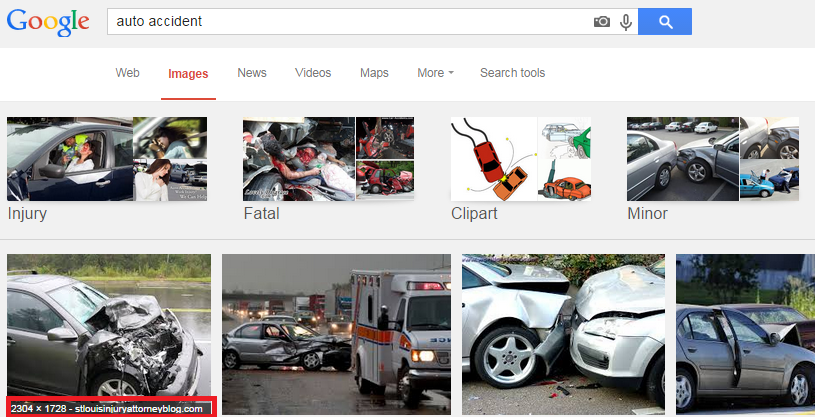 Screenshot of Google Images search for auto accident