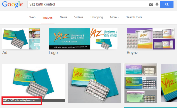 Screenshot of Google Images search for Yaz birth control