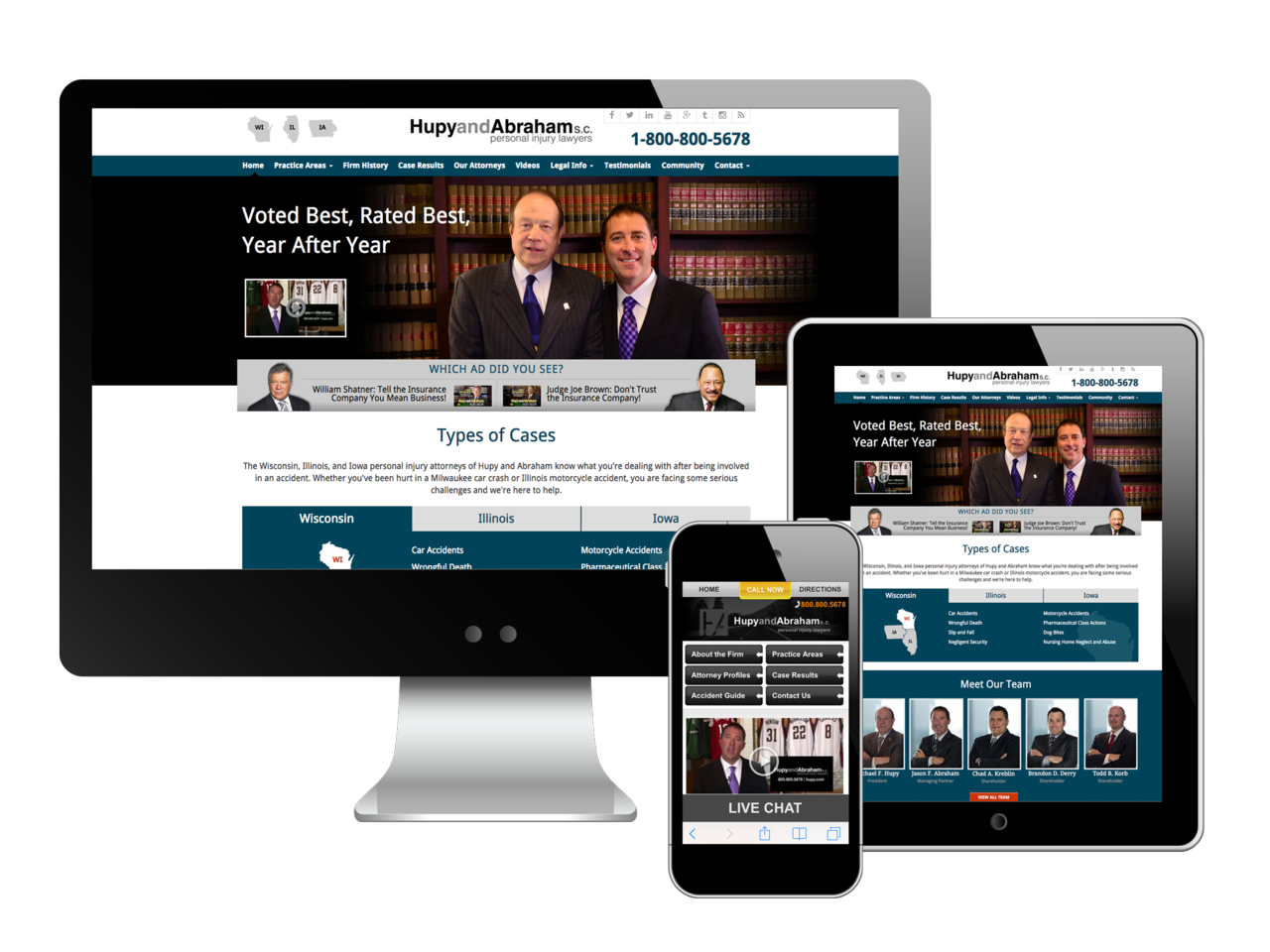 Hupy and Abraham's Webby Award Winning Best Law Firm Design