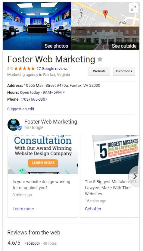 Foster Web Marketing's Google Local calls to action.
