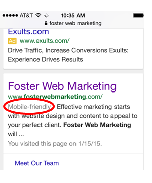 Mobile search result foster web marketing