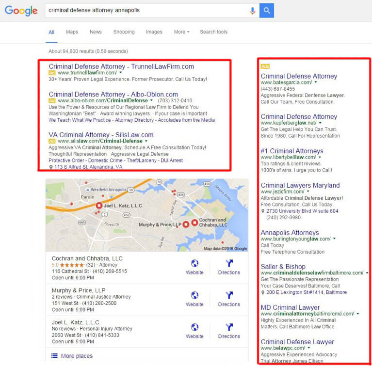 The way Google used to display right-sidebar PPC ads