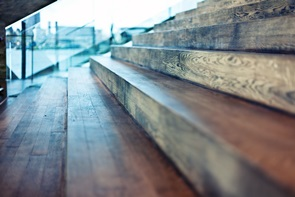 Wooden Steps in Office Building
