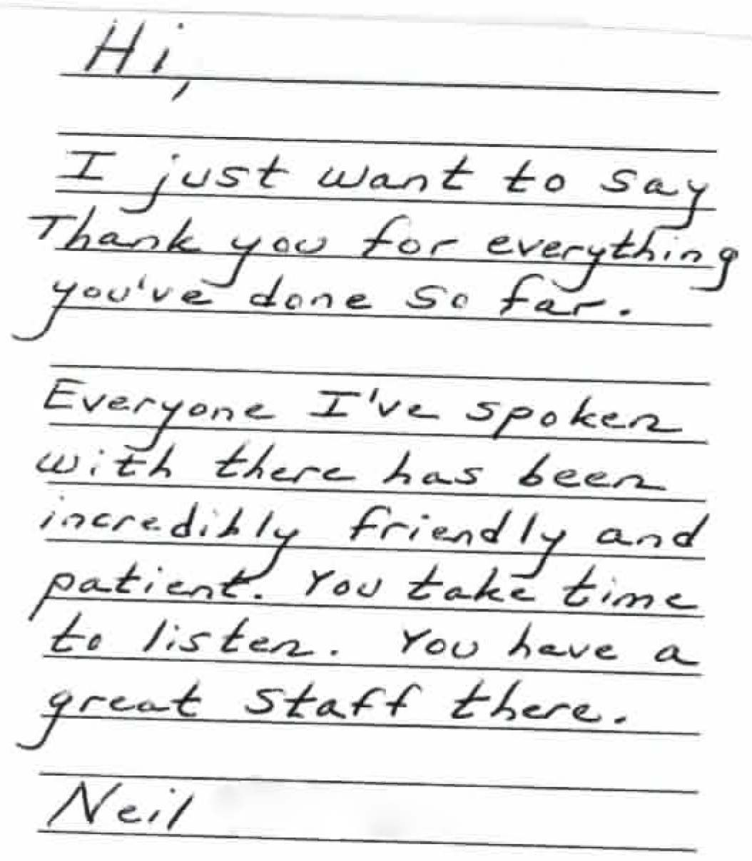 Letter From Satisfied Client