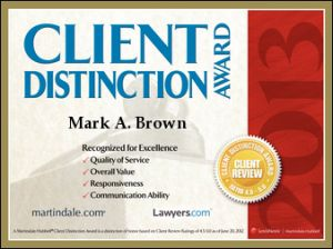 Martindale Hubble Client Distinction Award