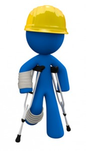 Cartoon construction worker with arm and leg injuries