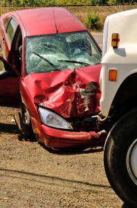Work-related car accident scene causing psychological injuries