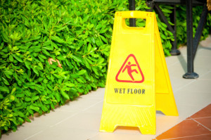 In Alexandria, Louisiana, a warning sign marks areas that could cause slip and fall accidents.