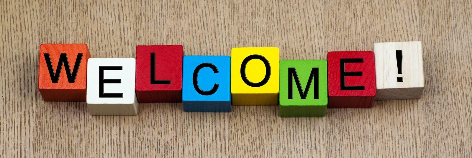 Welcome written in block letters