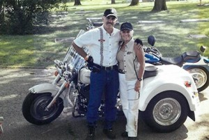 Randy and Regina in front of motorcycle