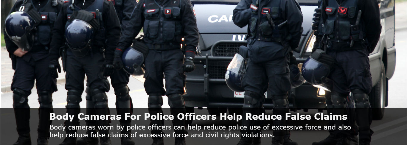 Team of police officers wearing body cameras