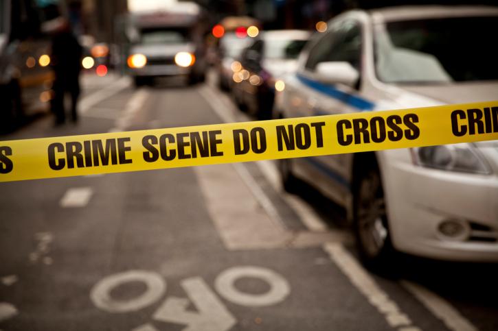Police tape at car accident scene in Indiana