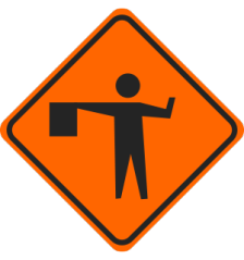 Flaggers ahead road sign