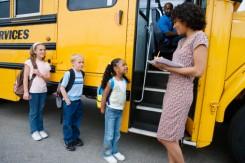Children getting on Indiana School Bus