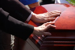 Family mourning wrongful death of a family member