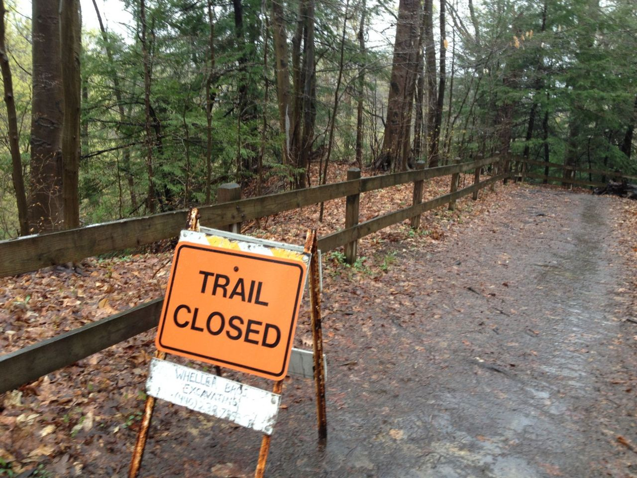 "A sign saying, ""trail closed"" on a path surrounded by trees."