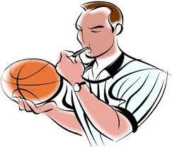 basketball referee blowing whistle