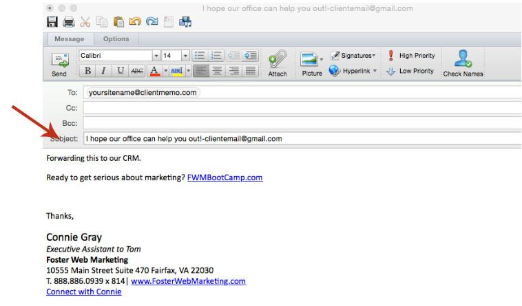Email To CRM in To Field
