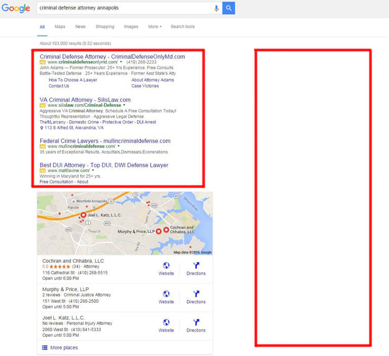 The new way in which Google displays the top 4 PPC ads