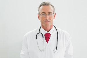 Serious and confident male doctor