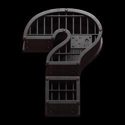 Question mark with jail bars