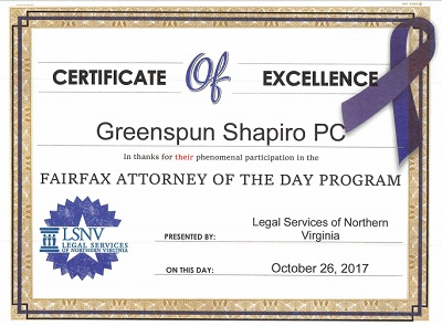 Certificate of Excellence from Legal Services of Northern Virginia