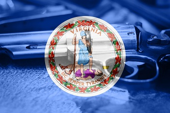 Gun in background of Virginia State flag