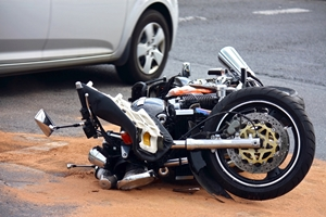 Motorcycle on its side after a crash