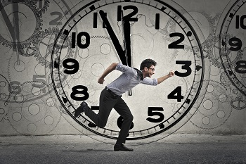 Man running out of time during the day