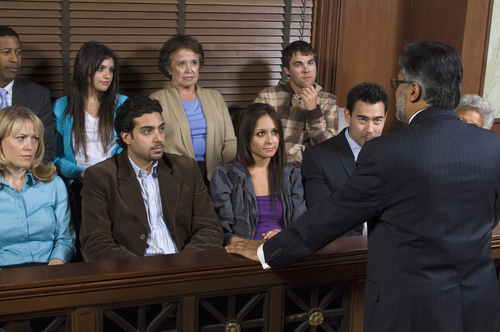 Trial Lawyer in front of Jury