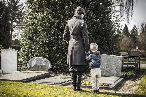 Grieving wife and child at grave site of father