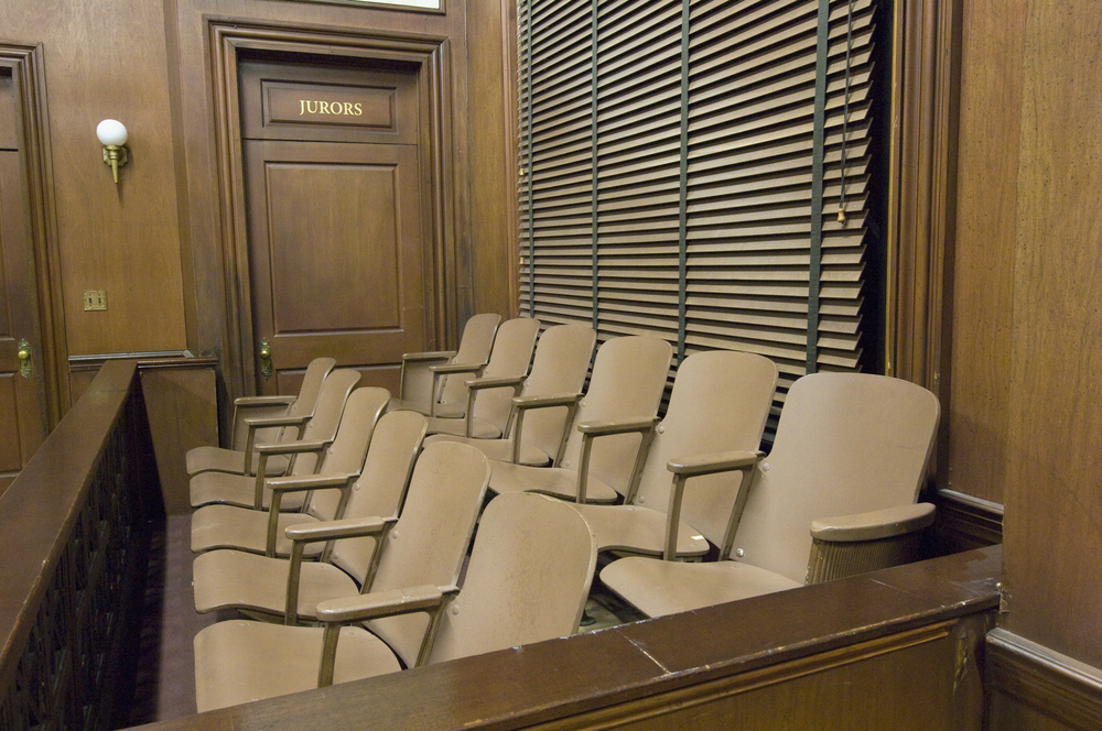Empty jury box in a courtroom