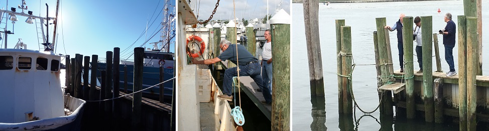 Unsafe platform at pier boarding the 45-foot scalloper F/V Vengeance