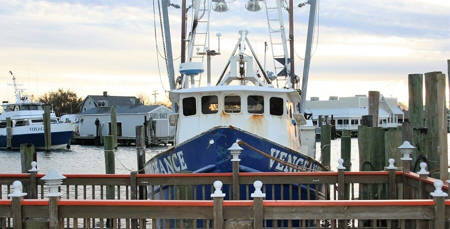 F/V Vengeance fishing boat tied up at a pier in Point Pleasant, NJ