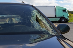 Car with shattered windshield