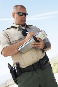 A Police Officer Filling Out a Report at the Scene of an Accident