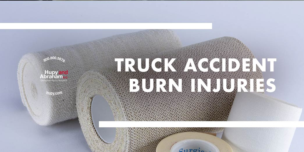 Pictures of different wraps for the body with text Truch accident burn injuries