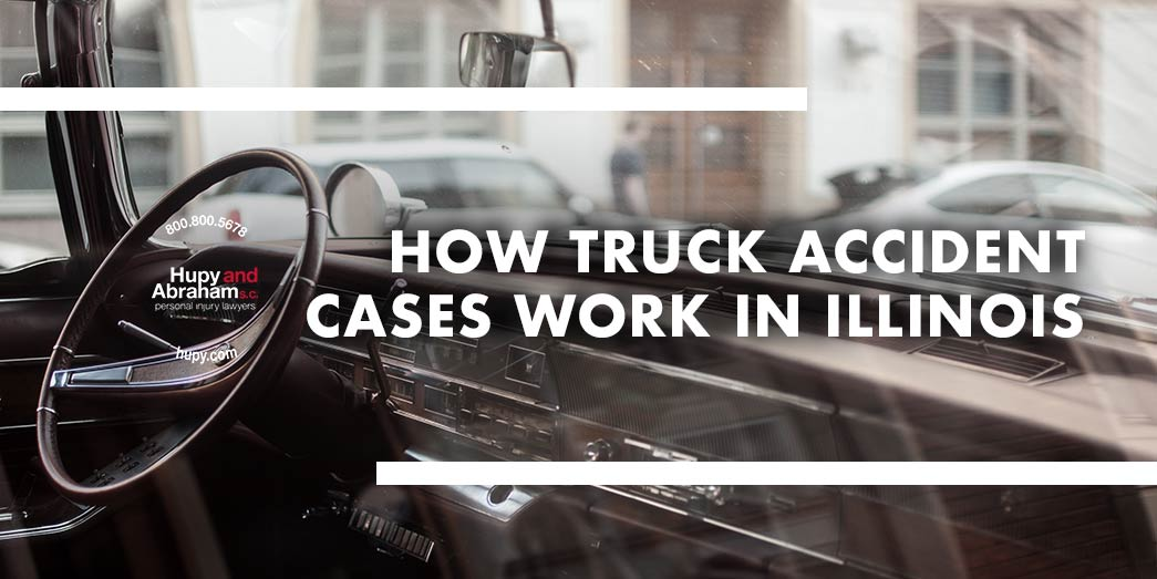 dashboard of truck with text How truch accident cases work in Illionis