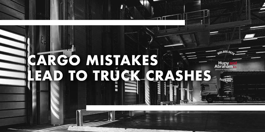 Picure of warehouse and garage doors with text Cargo mistakes lead to truck crashes