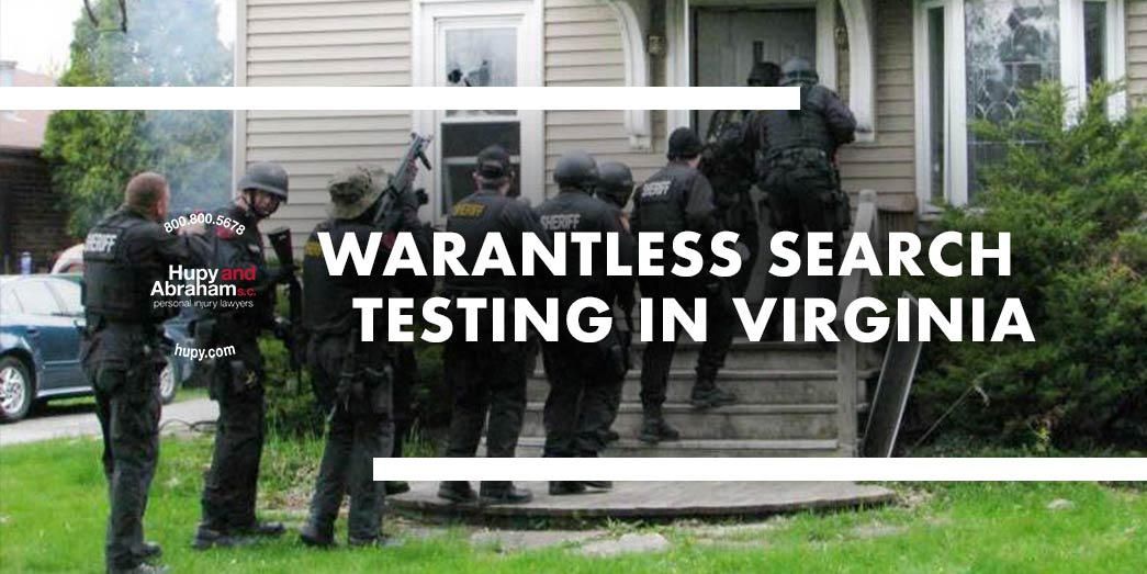 Sherrif and his team searching home with text Warantless search testing in Virginia