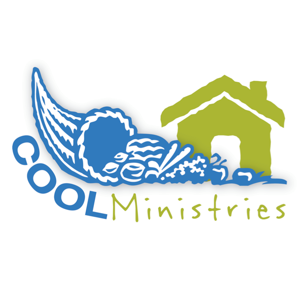 Cool Ministries logo with basket with vegetables and a drawing of home thanking Hupy and Abraham