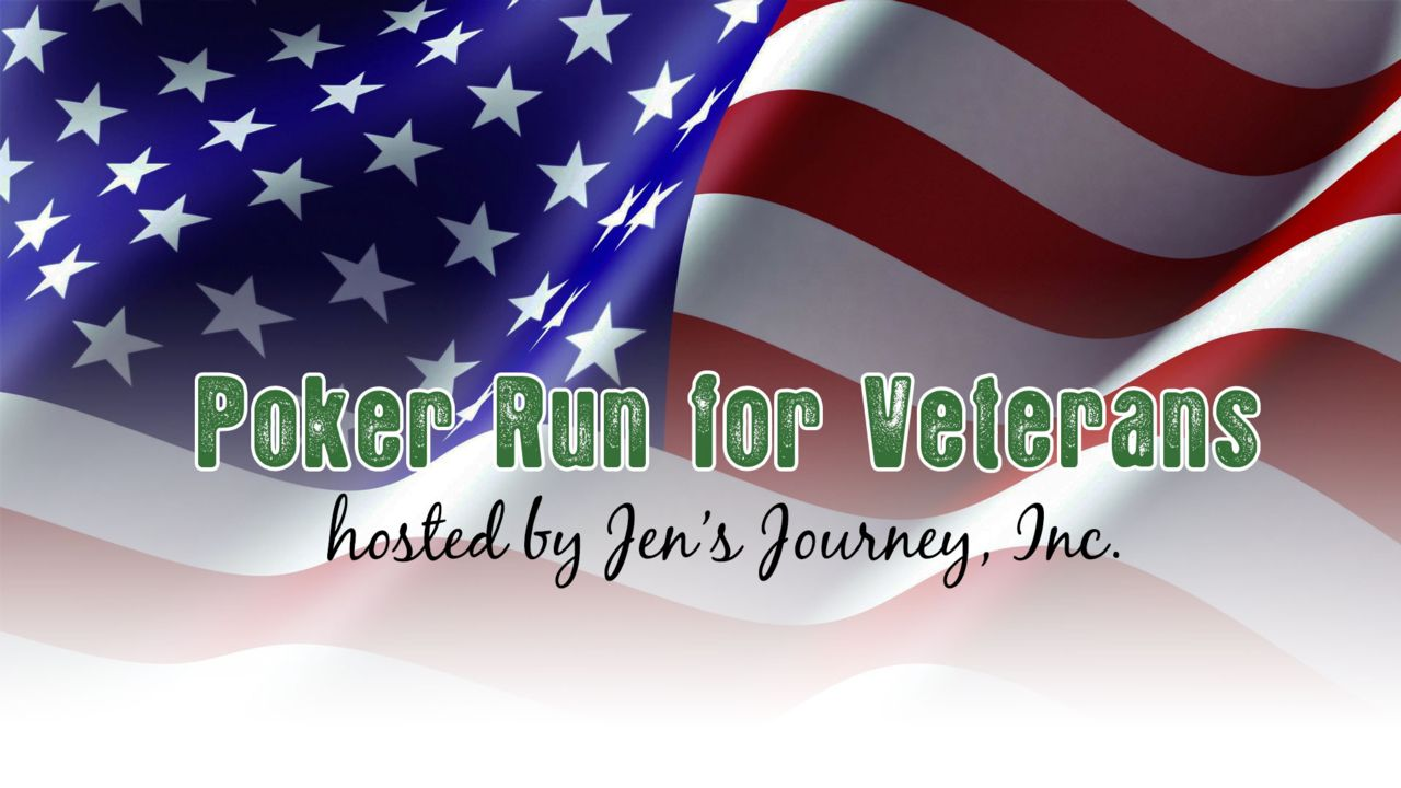 American flag with text saying Poker Run for Veterans hosted by Jen's Journey