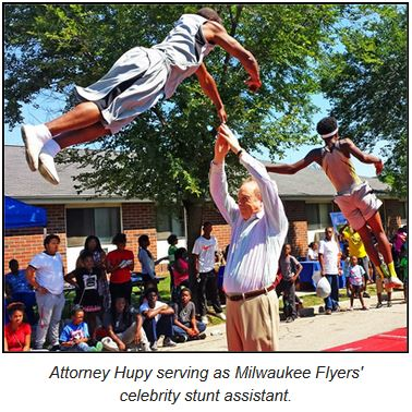 Attorney Hupy serving as Milwaukee Flyers' celebrity stunt assistant