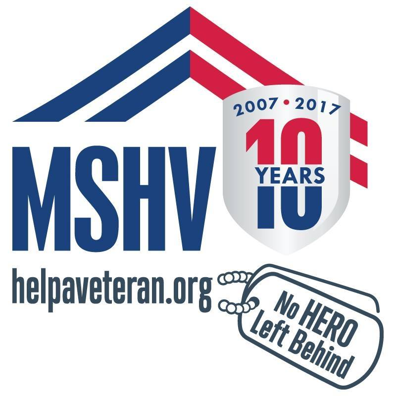 Logo of MSHV, No hero left behind, with website url and 10 year anniversary badge thanking Hupy and Abraham