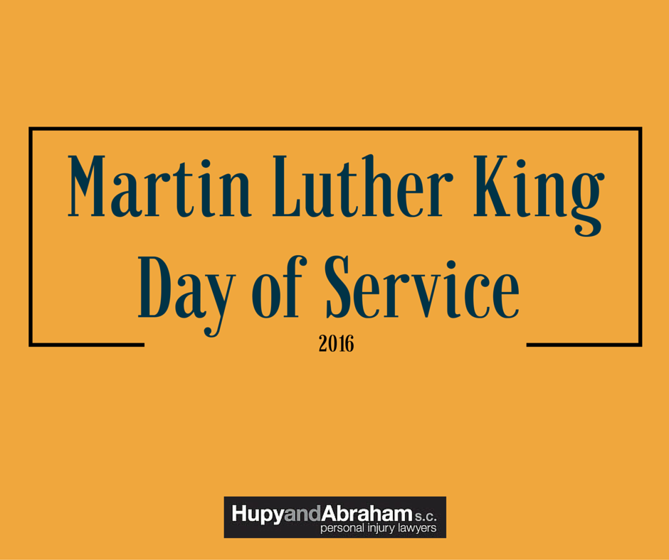 Orange background with text Martin Luther King Day of Service''