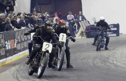 Motorcycle racing at Mamma Tried motorcycle show