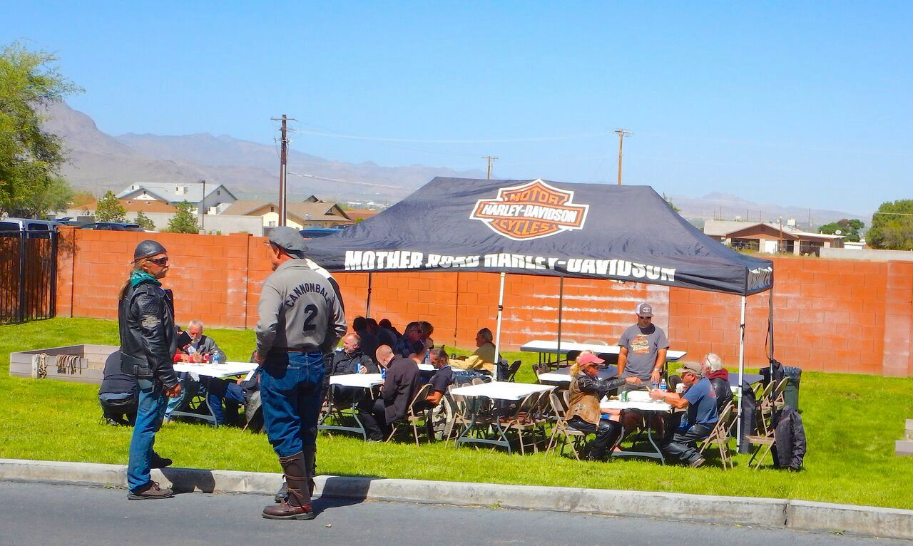 Harley Davidson tent set up for the show