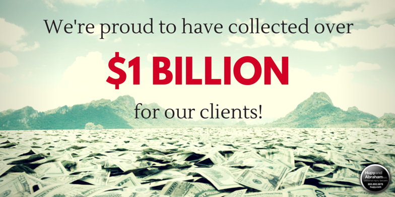 Banner with money on the bottom with text...We've proud to have collected over $1B for our clients