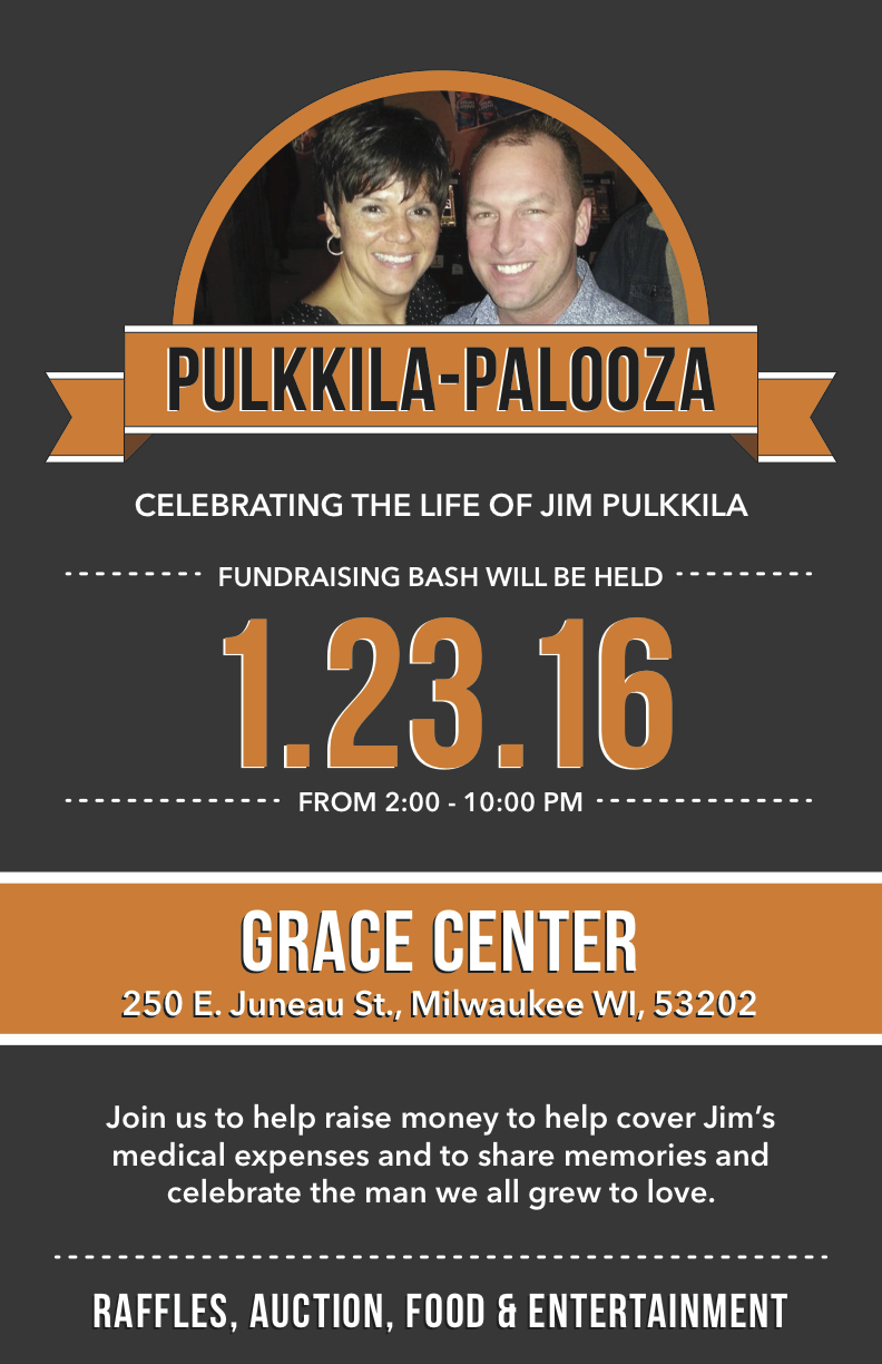 Flyer of Pulkkila-Palooza fundraising for Motorcyclist killed by drunk driver
