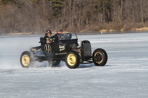Vintage car at ice racing competition at the McKinley Marina